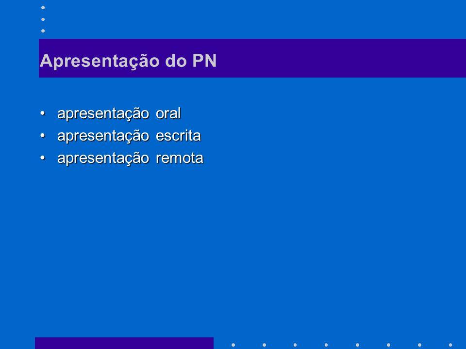 Apresentação do PN apresentação oral apresentação escrita
