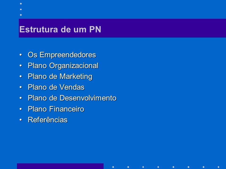 Estrutura de um PN Os Empreendedores Plano Organizacional