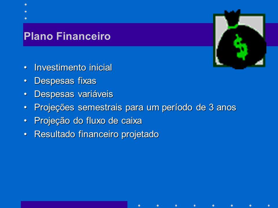 Plano Financeiro Investimento inicial Despesas fixas
