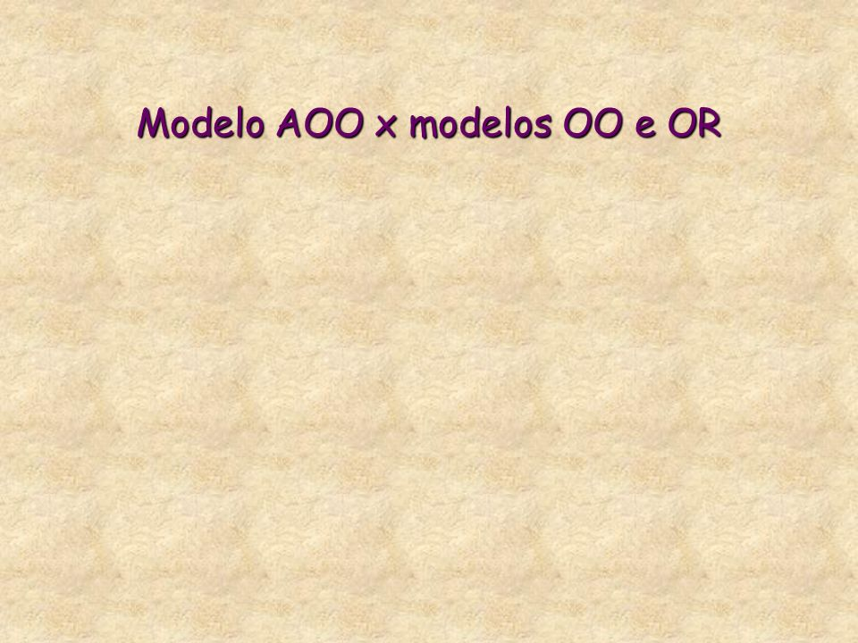 Modelo AOO x modelos OO e OR