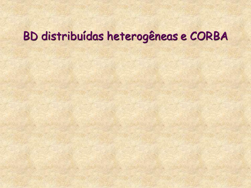 BD distribuídas heterogêneas e CORBA