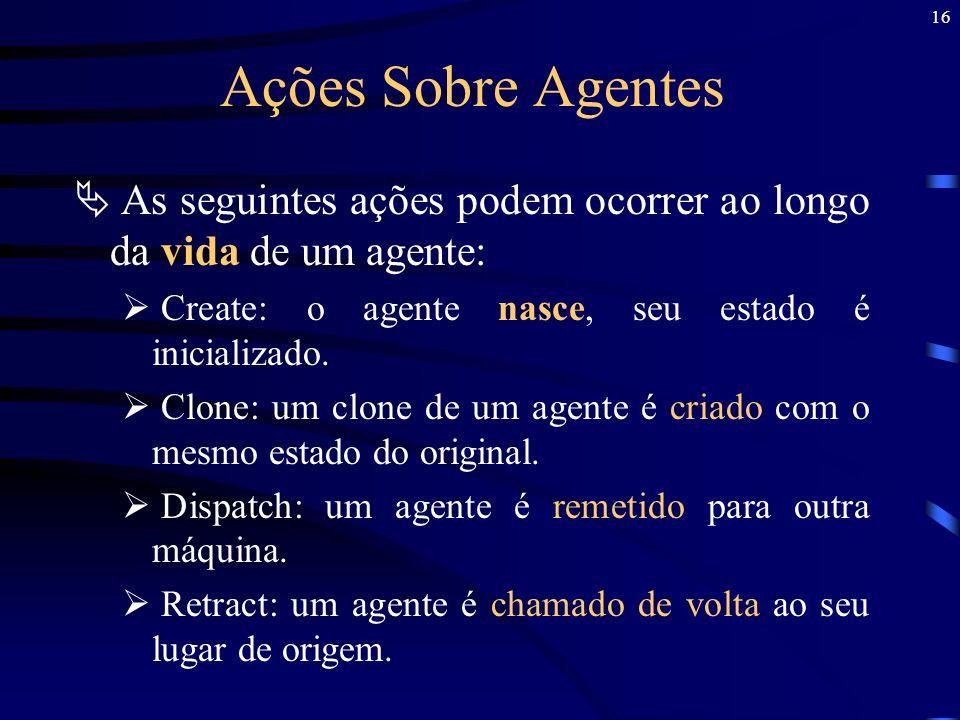 Ações Sobre Agentes As seguintes ações podem ocorrer ao longo da vida de um agente: Create: o agente nasce, seu estado é inicializado.