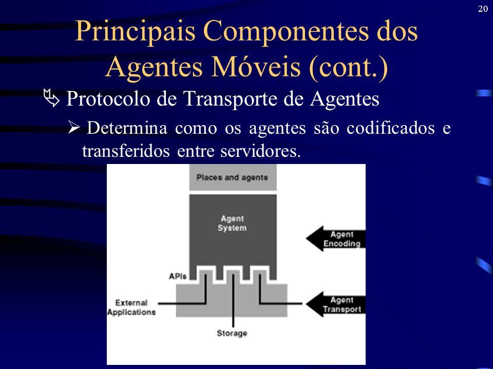 Principais Componentes dos Agentes Móveis (cont.)