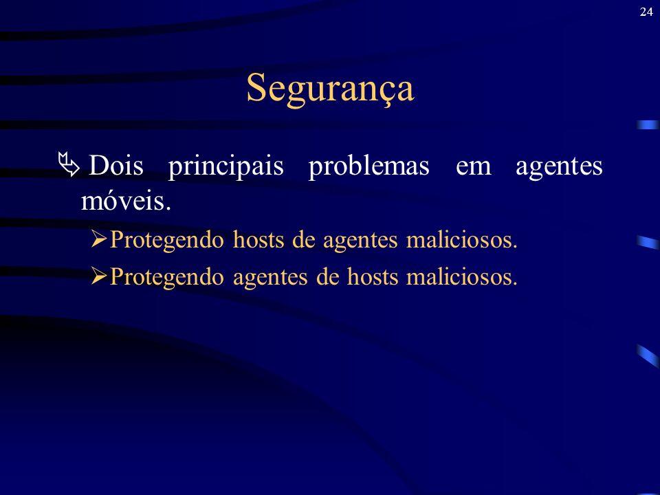 Segurança Dois principais problemas em agentes móveis.