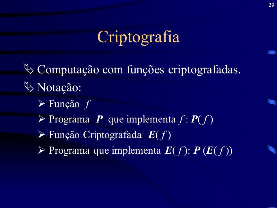 Criptografia Computação com funções criptografadas. Notação: Função f