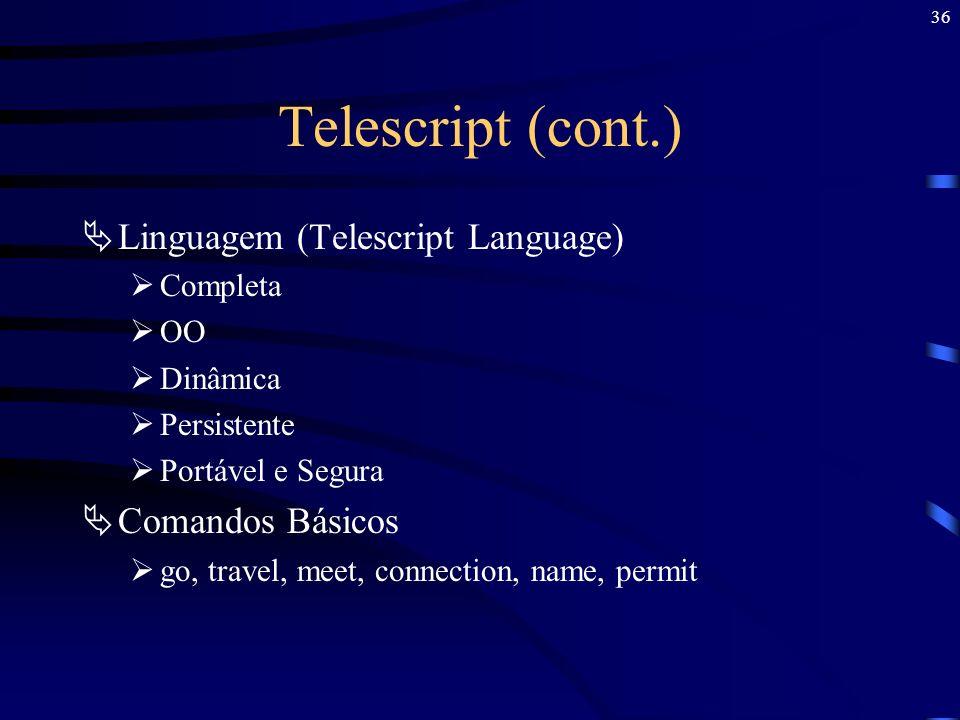 Telescript (cont.) Linguagem (Telescript Language) Comandos Básicos