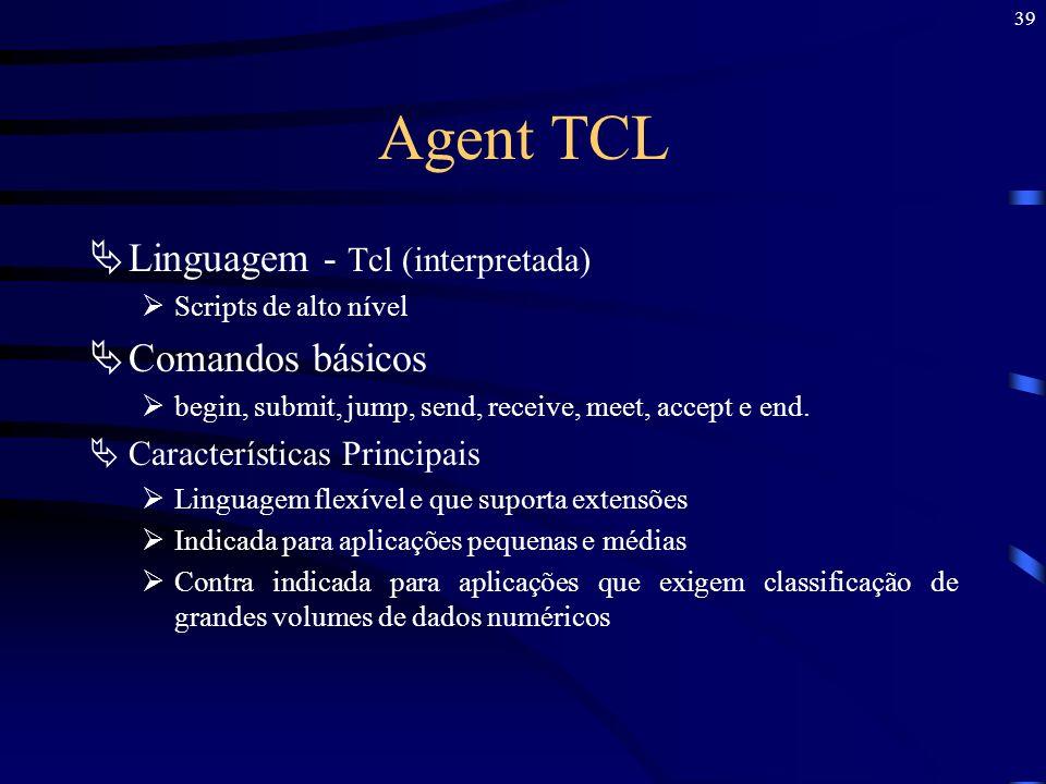 Agent TCL Linguagem - Tcl (interpretada) Comandos básicos