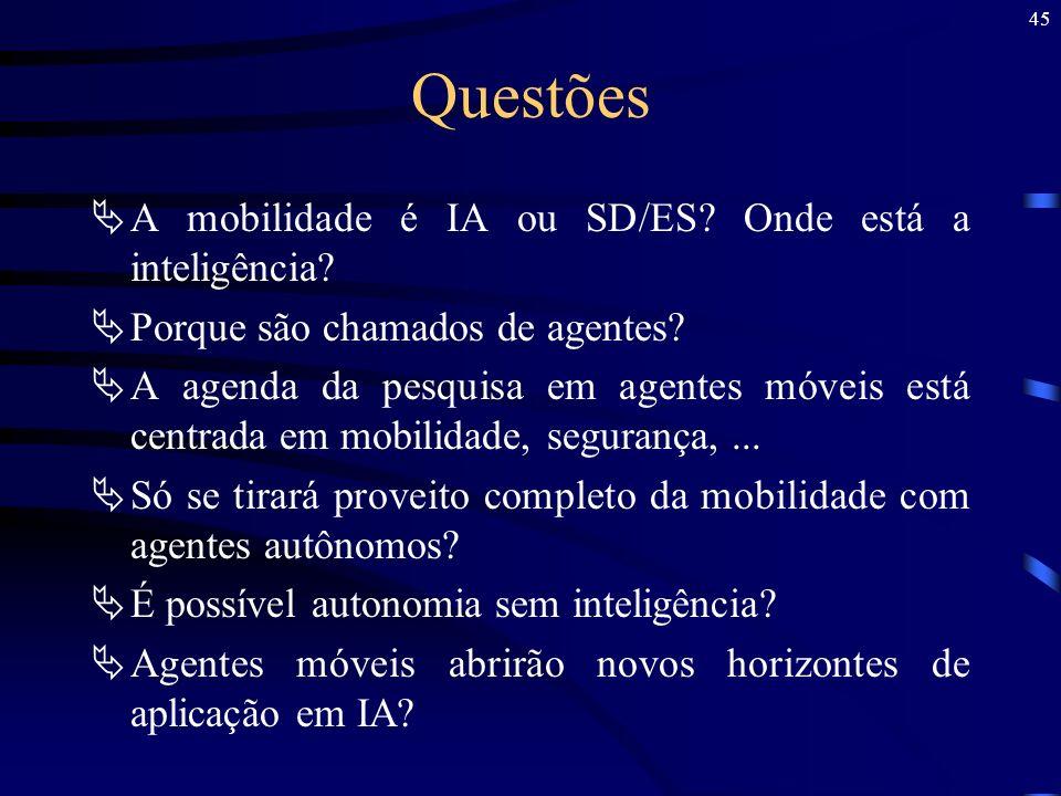 Questões A mobilidade é IA ou SD/ES Onde está a inteligência