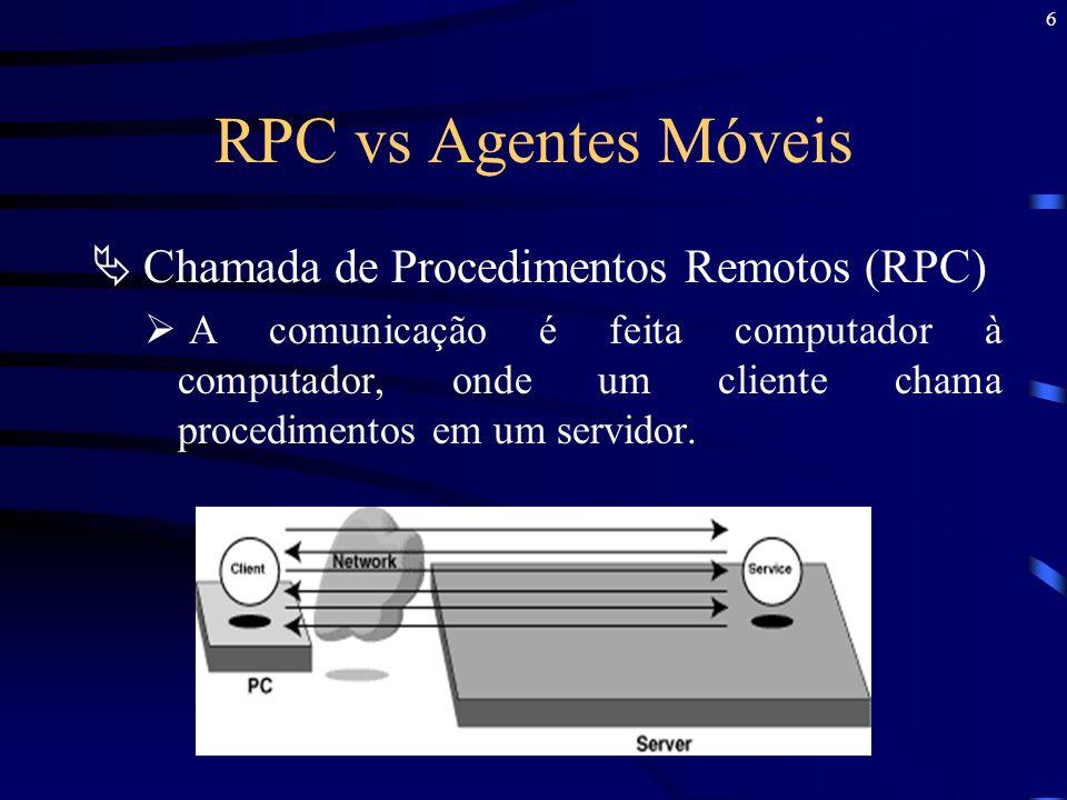 RPC vs Agentes Móveis Chamada de Procedimentos Remotos (RPC)