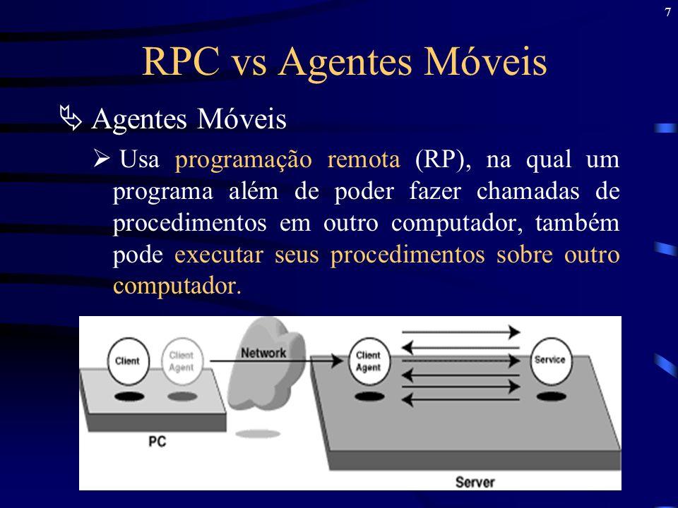 RPC vs Agentes Móveis Agentes Móveis