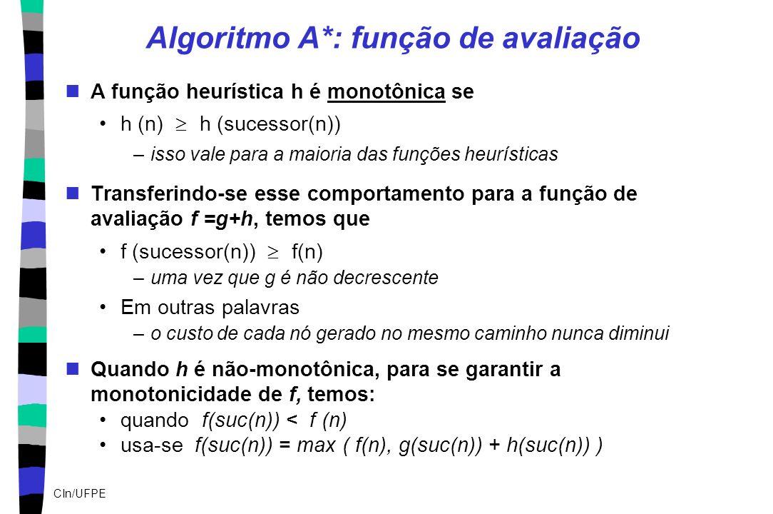 Algoritmo A*: função de avaliação