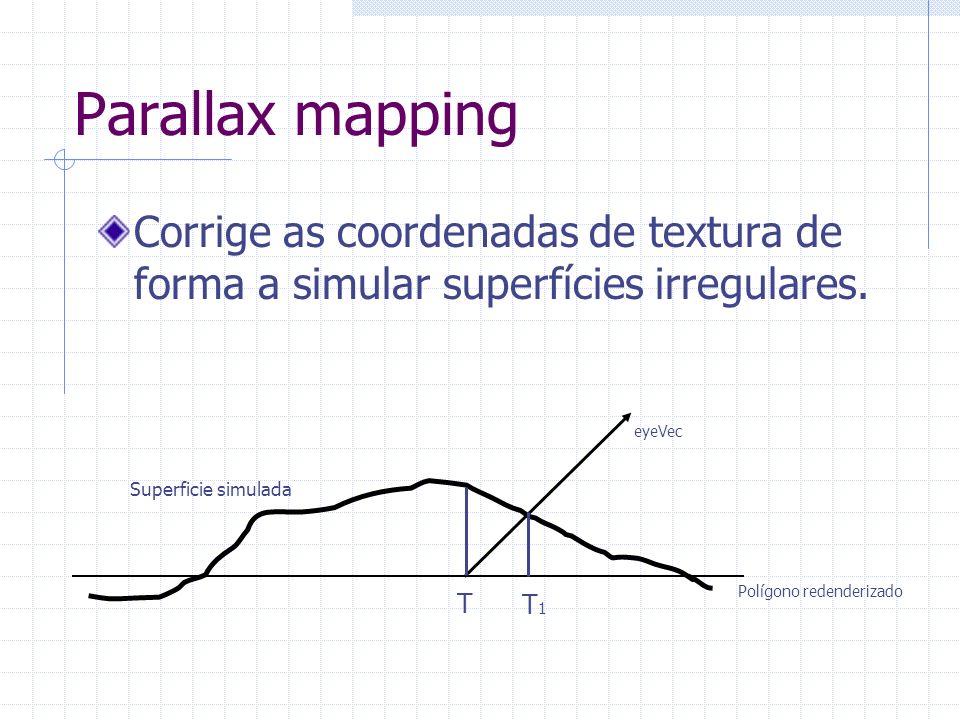 Parallax mappingCorrige as coordenadas de textura de forma a simular superfícies irregulares. T. T1.