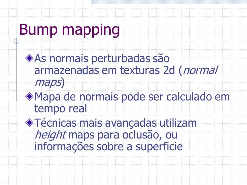 Bump mappingAs normais perturbadas são armazenadas em texturas 2d (normal maps) Mapa de normais pode ser calculado em tempo real.