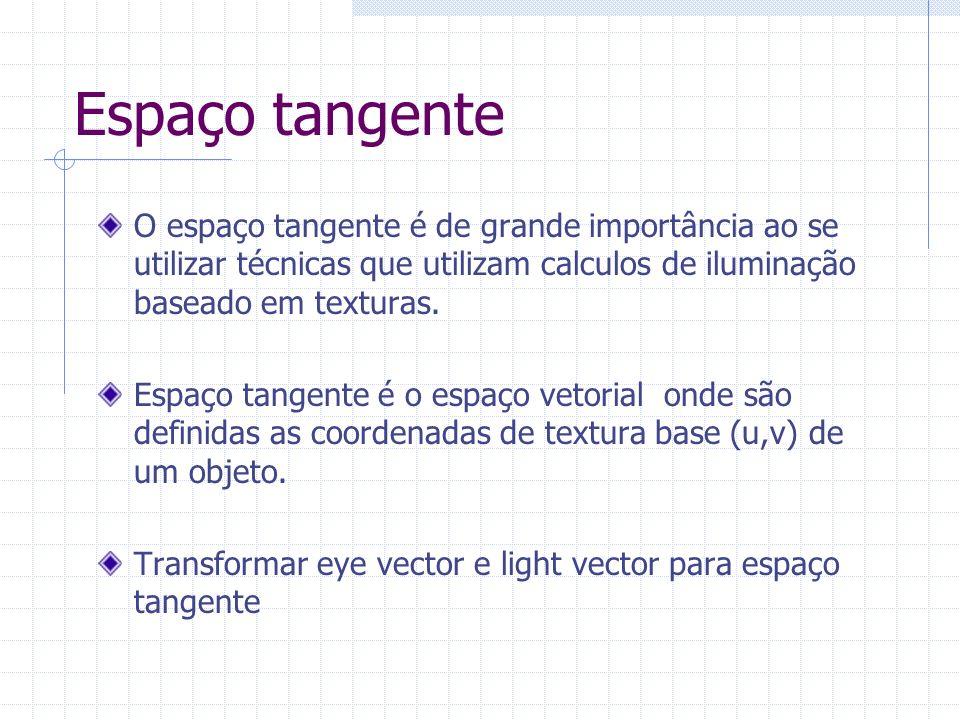 Espaço tangente O espaço tangente é de grande importância ao se utilizar técnicas que utilizam calculos de iluminação baseado em texturas.