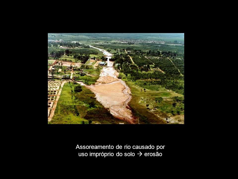 Assoreamento de rio causado por uso impróprio do solo  erosão