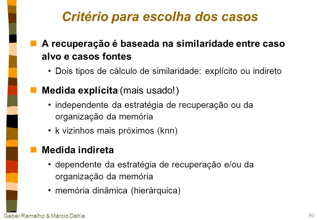 Critério para escolha dos casos