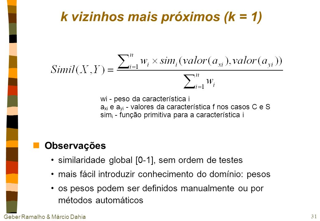 k vizinhos mais próximos (k = 1)