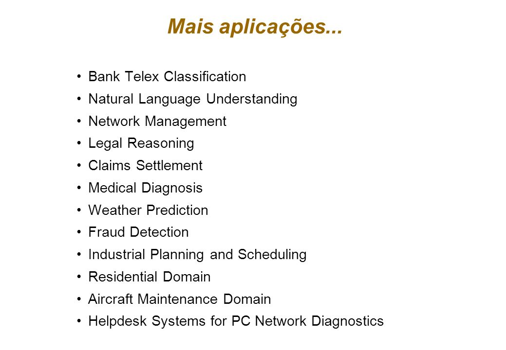 Mais aplicações... Bank Telex Classification