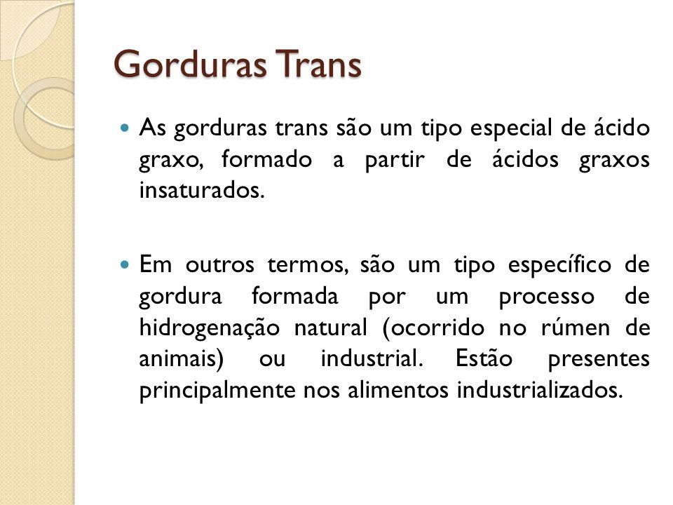 Gorduras Trans As gorduras trans são um tipo especial de ácido graxo, formado a partir de ácidos graxos insaturados.
