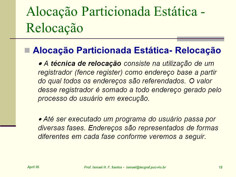 Alocação Particionada Estática - Relocação