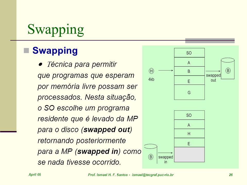 Swapping Swapping · Técnica para permitir que programas que esperam