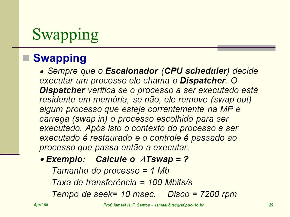 Swapping Swapping · Exemplo: Calcule o Tswap =