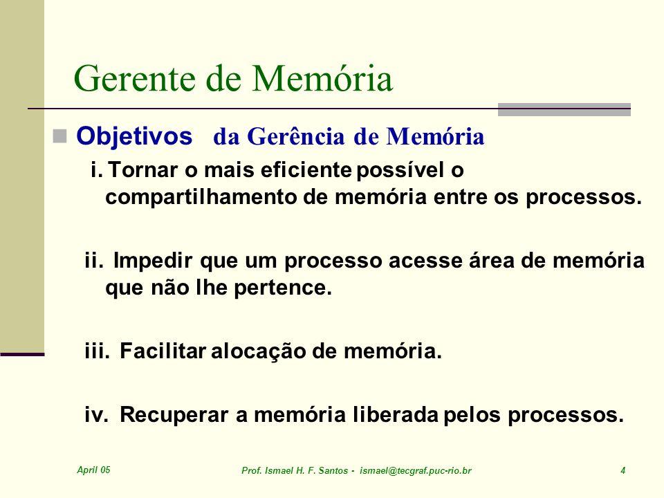 Gerente de Memória Objetivos da Gerência de Memória