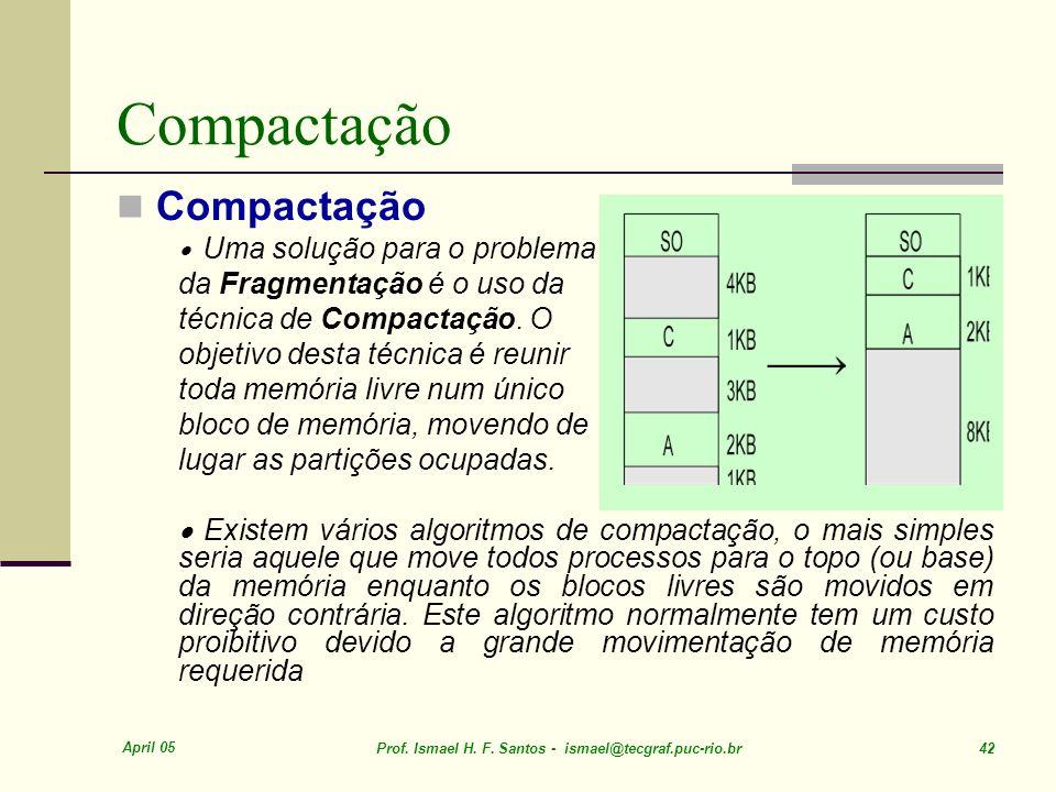 Compactação Compactação da Fragmentação é o uso da