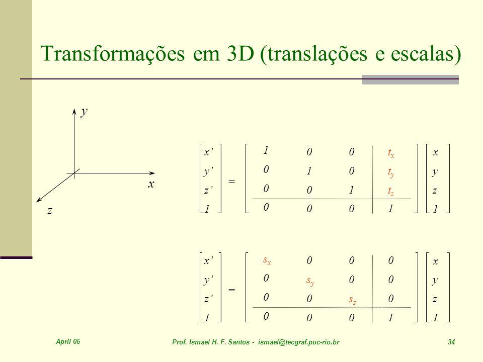 Transformações em 3D (translações e escalas)