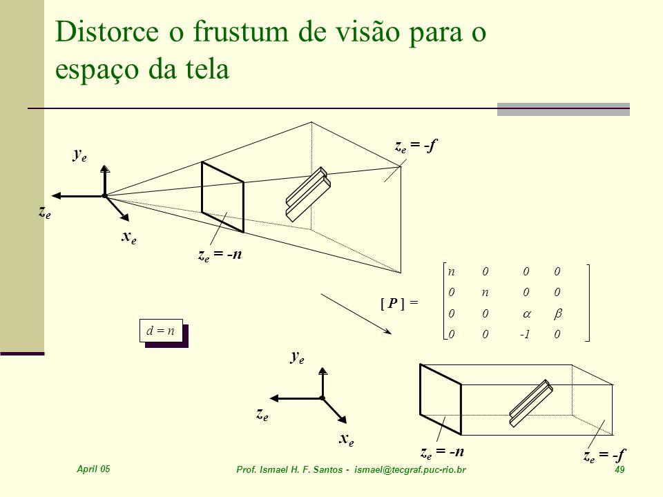 Distorce o frustum de visão para o espaço da tela