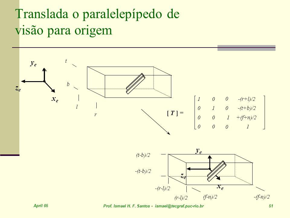 Translada o paralelepípedo de visão para origem