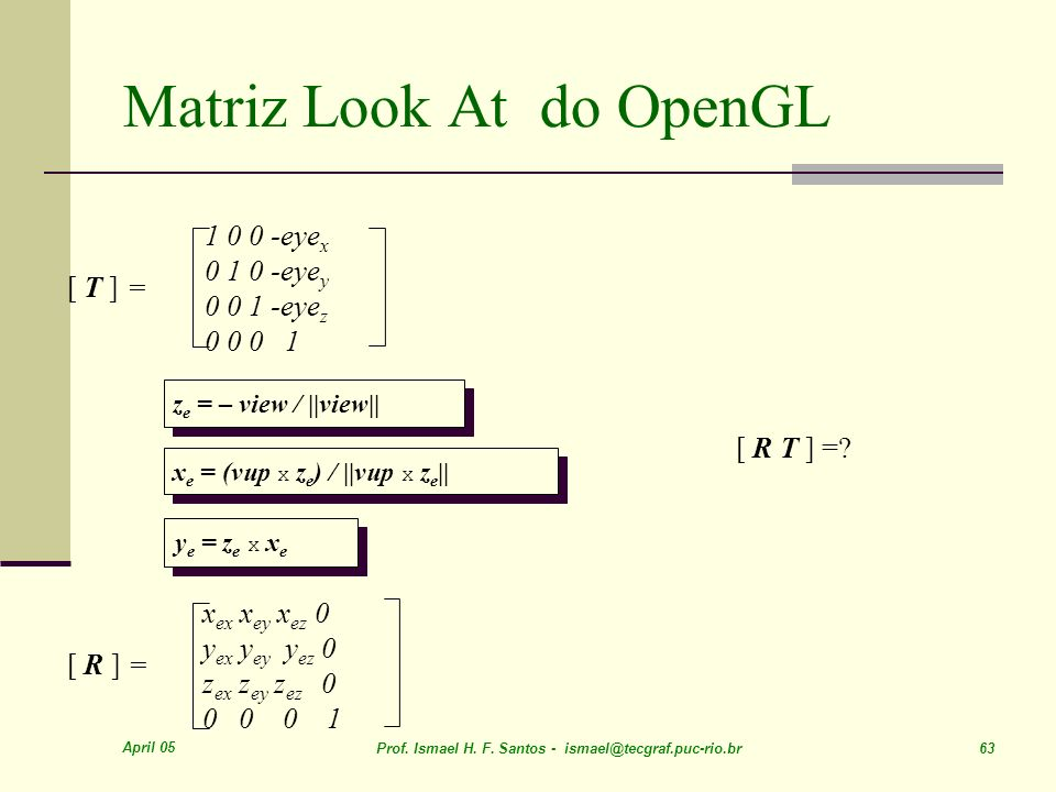 Matriz Look At do OpenGL