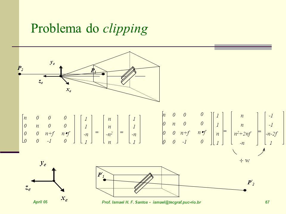 Problema do clipping ye ze xe ¸ w ye P2 P1 ze xe P'1 P'2 n n n+f -1