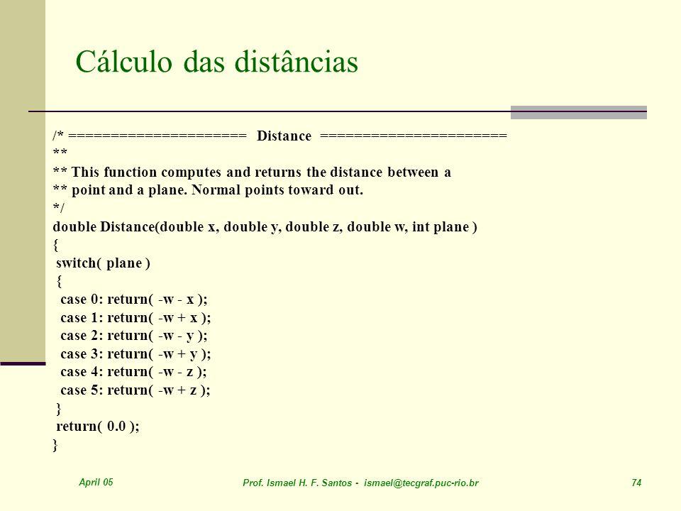 Cálculo das distâncias