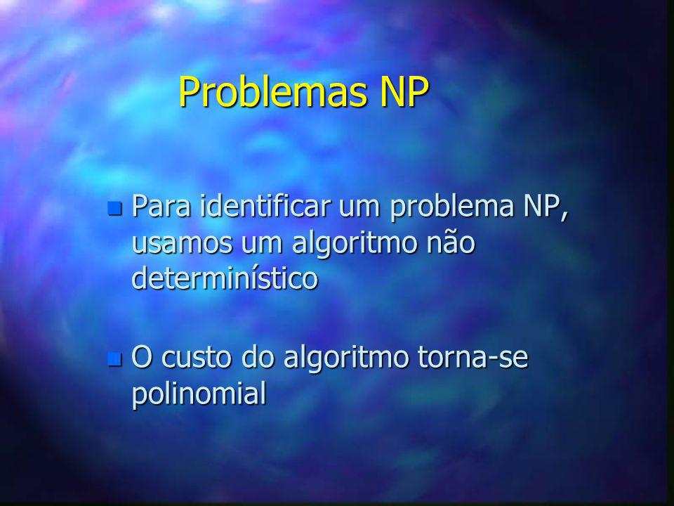 Problemas NP Para identificar um problema NP, usamos um algoritmo não determinístico.