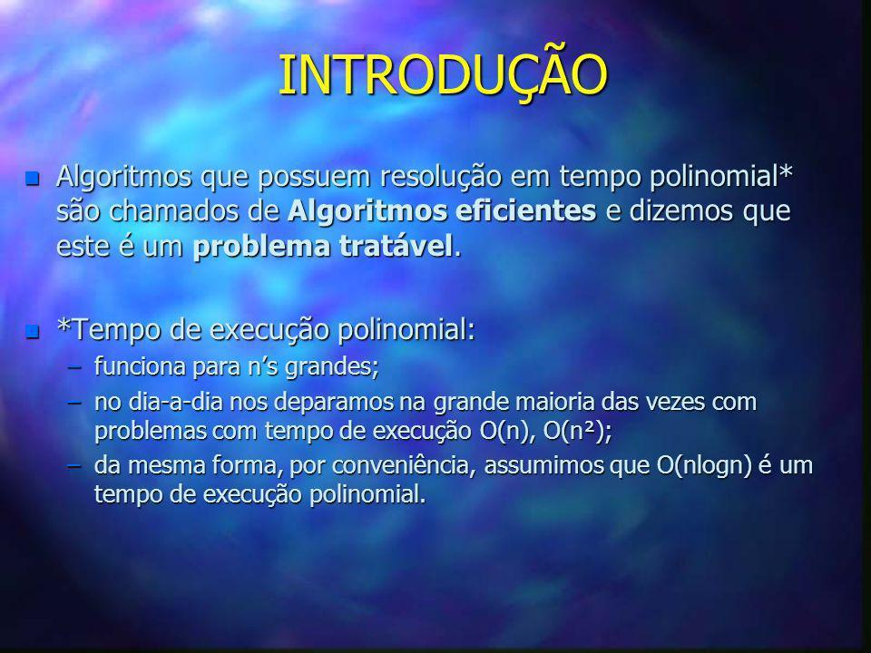 INTRODUÇÃO Algoritmos que possuem resolução em tempo polinomial* são chamados de Algoritmos eficientes e dizemos que este é um problema tratável.