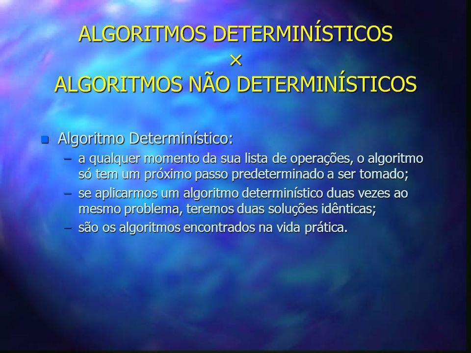 ALGORITMOS DETERMINÍSTICOS × ALGORITMOS NÃO DETERMINÍSTICOS