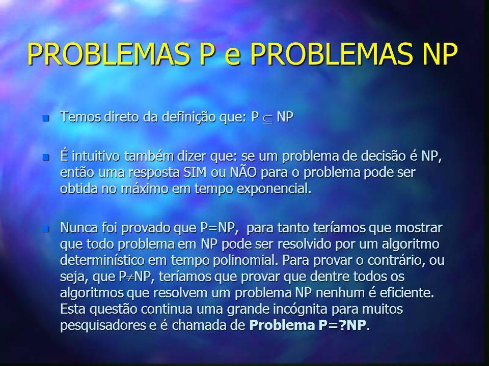 PROBLEMAS P e PROBLEMAS NP