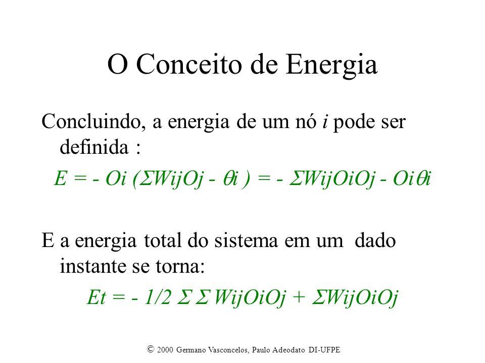 O Conceito de Energia Concluindo, a energia de um nó i pode ser definida : E = - Oi (WijOj - i ) = - WijOiOj - Oii.