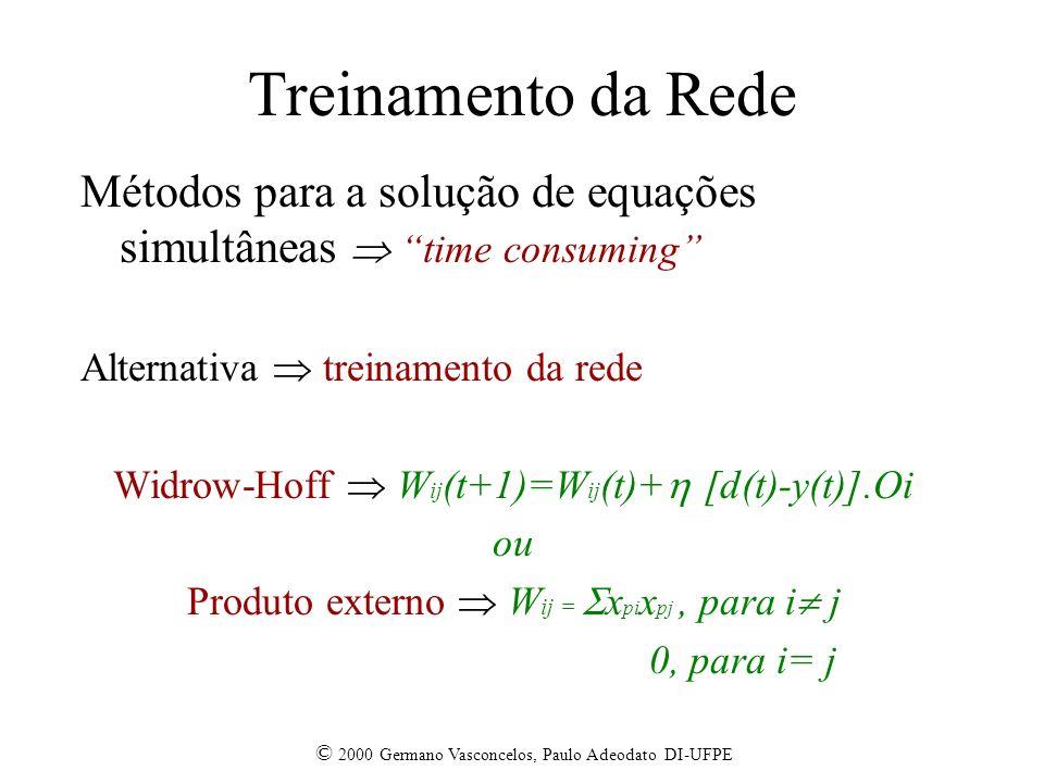 Treinamento da Rede Métodos para a solução de equações simultâneas  time consuming Alternativa  treinamento da rede.