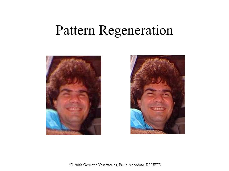 Pattern Regeneration © 2000 Germano Vasconcelos, Paulo Adeodato DI-UFPE