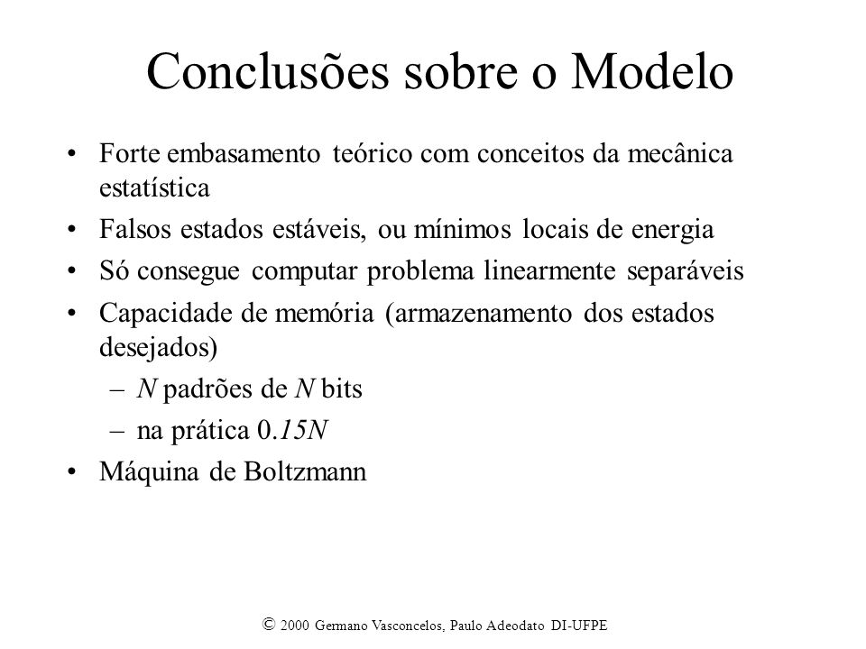 Conclusões sobre o Modelo