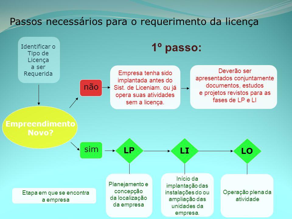 1º passo: Passos necessários para o requerimento da licença não sim LP