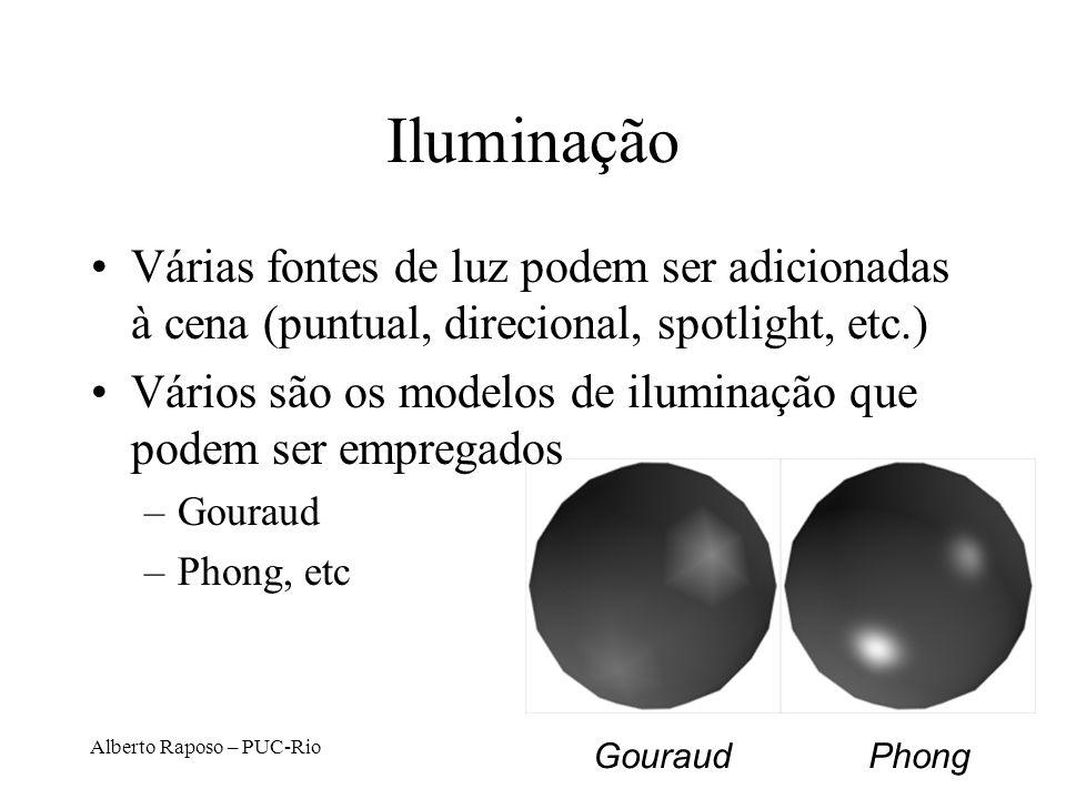 Iluminação Várias fontes de luz podem ser adicionadas à cena (puntual, direcional, spotlight, etc.)