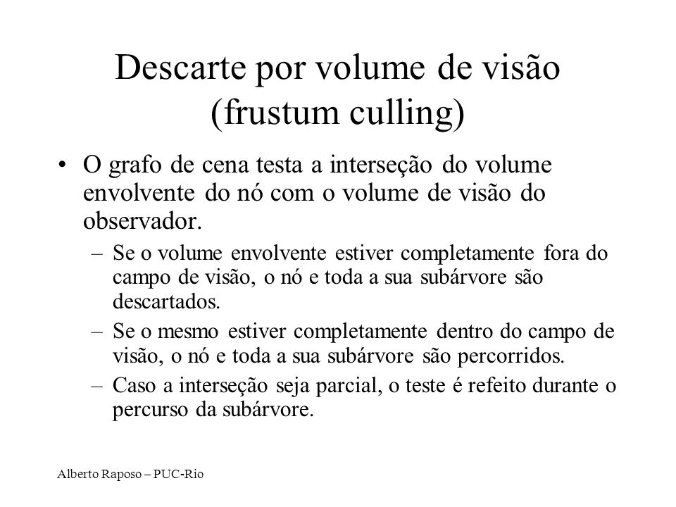 Descarte por volume de visão (frustum culling)
