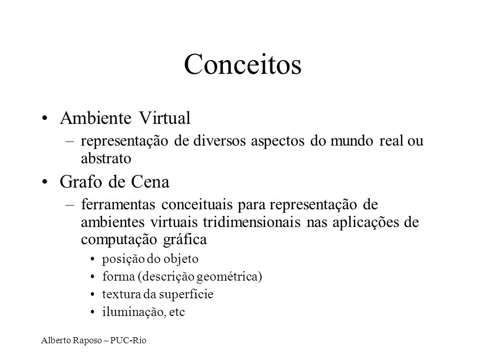 Conceitos Ambiente Virtual Grafo de Cena