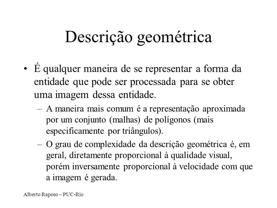 Descrição geométrica É qualquer maneira de se representar a forma da entidade que pode ser processada para se obter uma imagem dessa entidade.