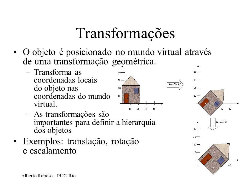 Transformações O objeto é posicionado no mundo virtual através de uma transformação geométrica.