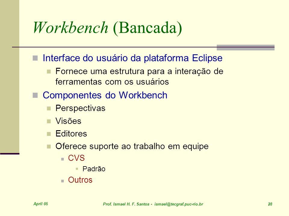 Workbench (Bancada) Interface do usuário da plataforma Eclipse