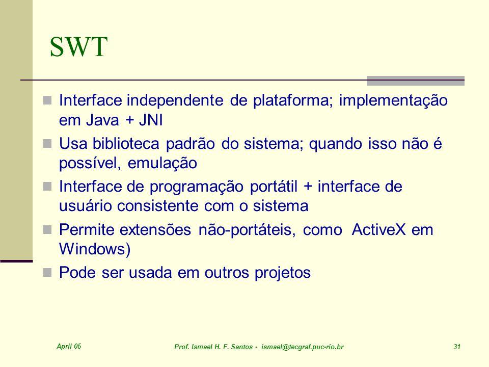 SWT Interface independente de plataforma; implementação em Java + JNI